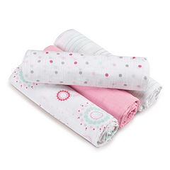 aden by aden + anais SwaddlePlus 4-pk. Baby Girl Muslin Swaddles
