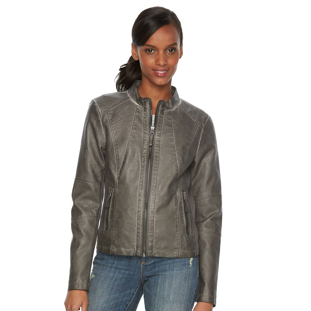 Women's Sebby Collection Faux-Leather Motorcycle Jacket