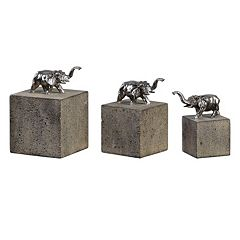 Tiberia Elephant Sculpture Table Decor 3 pc Set