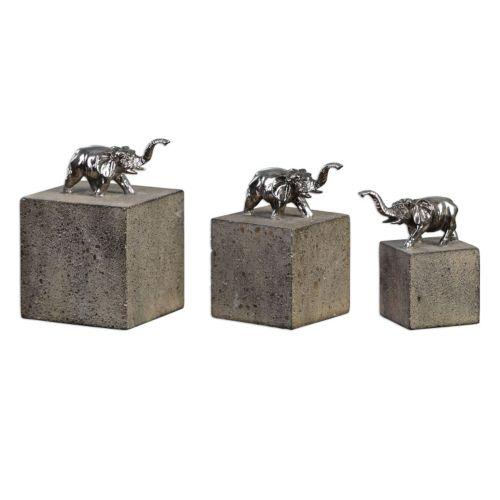 Tiberia Elephant Sculpture Table Decor 3-piece Set
