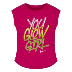 """Girls 4-6x Nike Pink """"You Glow Girl"""" Curved Shimmer Graphic Tee"""