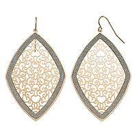 Glittery Filigree Marquise Nickel Free Drop Earrings