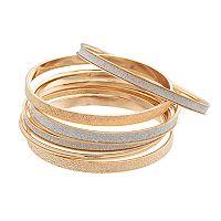 Glittery Textured Bangle Bracelet Set