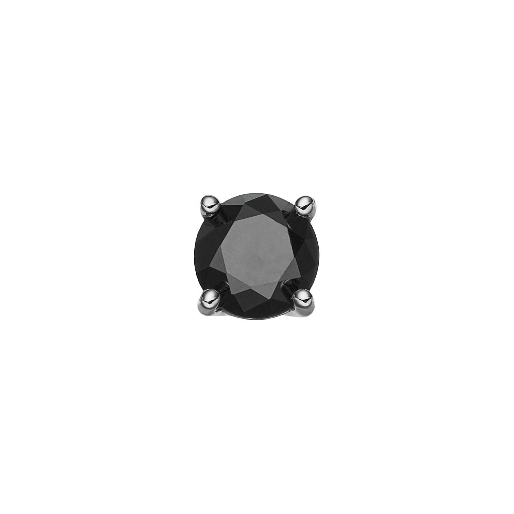 14k White Gold 1/4 Carat T.W. Black Diamond Stud - Single Earring