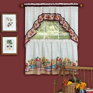 Farmer's Market 3-piece Swag Tier Kitchen Window Curtain Set