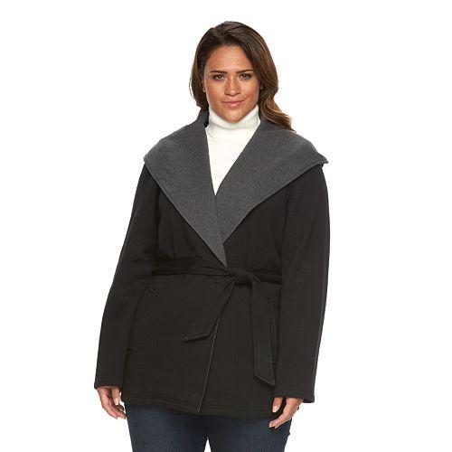 cc70a10fd69 Plus Size Sebby Collection Hooded Fleece Wrap Jacket