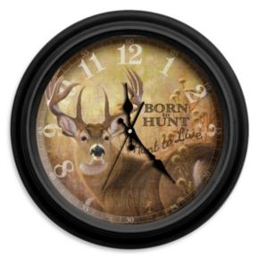 "Reflective Art ""Born to Hunt"" Wall Clock"