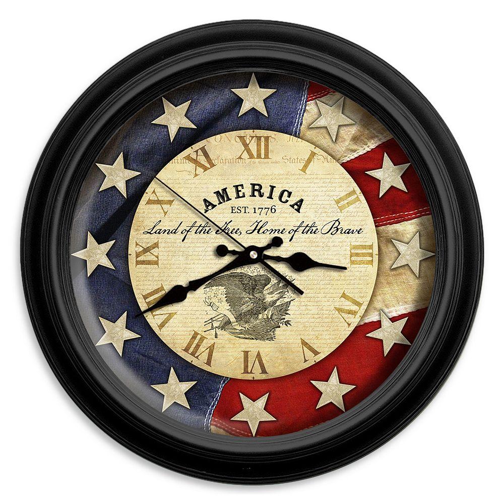 Reflective Art Land Of The Free Wall Clock