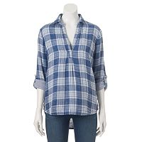Women's SONOMA Goods for Life™ High-Low Hem Plaid Shirt