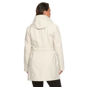Plus Size Sebby Collection Hooded Trench Raincoat