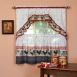 Rooster 3-piece Swag Tier Kitchen Window Curtain Set