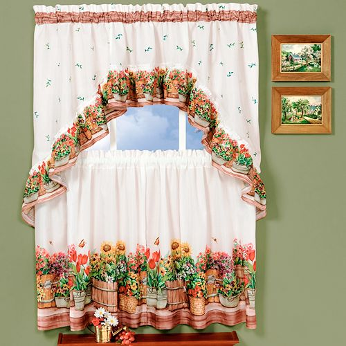 Country Garden 3-piece Swag Tier Kitchen Window Curtain Set