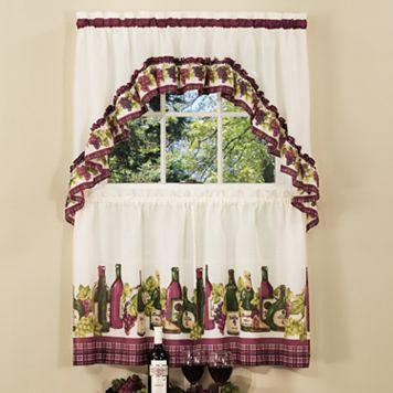 Chardonnay Wine Bottle 3-piece Tier Swag Kitchen Window Curtain Set