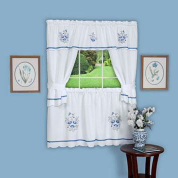 Delft 5-piece Swag Tier Cottage Kitchen Window Curtain Set