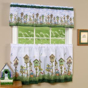 Home Sweet Home Bird House 3-piece Tier & Valance Kitchen Window Curtain Set