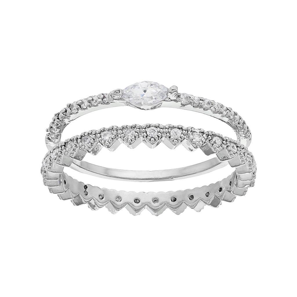 LC Lauren Conrad Crown & Marquise Ring Set