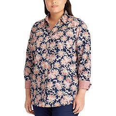 Plus Size Chaps No Iron Printed Sateen Shirt