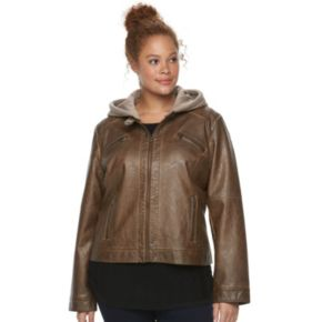 Plus Size Sebby Collection Hooded Faux-Leather Moto Jacket