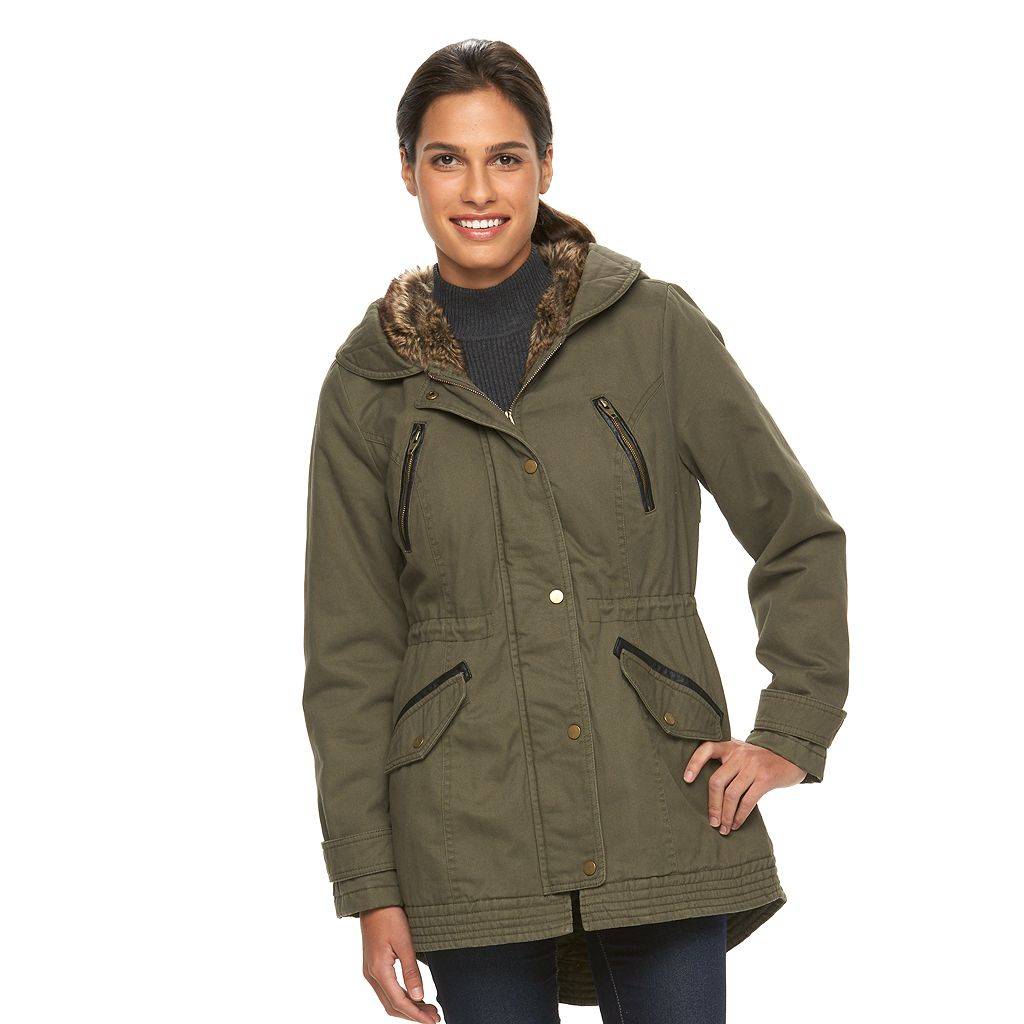 Women's Sebby Collection Hooded Twill Anorak Parka