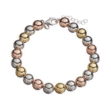 Tri Tone Sterling Silver Beaded Bracelet