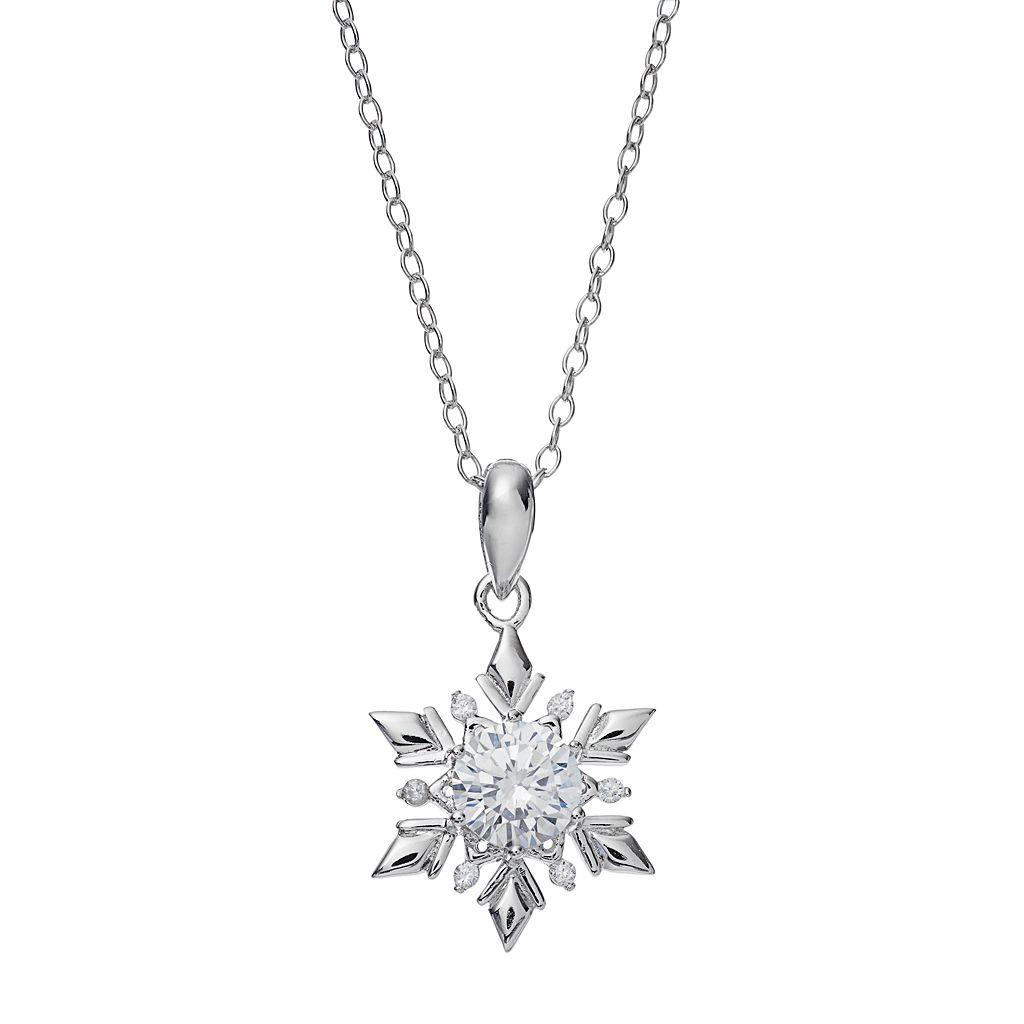 PRIMROSE Sterling Silver Cubic Zirconia Snowflake Pendant Necklace