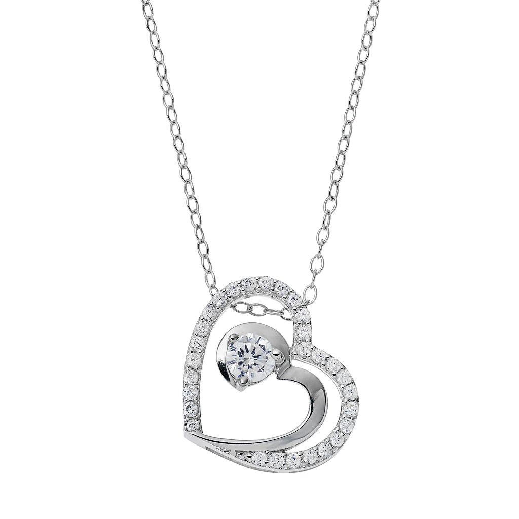 PRIMROSE Sterling Silver Cubic Zirconia Double Heart Pendant Necklace