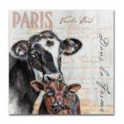 """Trademark Fine Art Dans """"la Ferme"""" Cow Canvas Wall Art"""