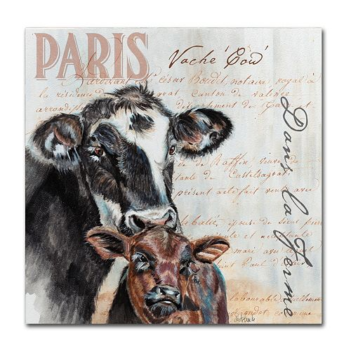 "Trademark Fine Art Dans ""la Ferme"" Cow Canvas Wall Art"