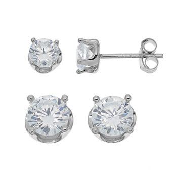 PRIMROSE Sterling Silver Cubic Zirconia Crown Stud Earring Set