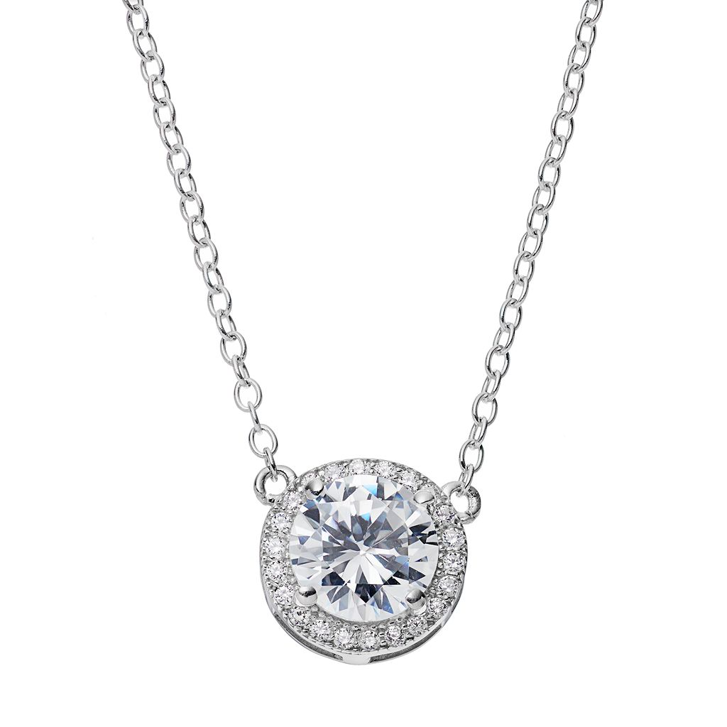 PRIMROSE Sterling Silver Cubic Zirconia Halo Pendant Necklace