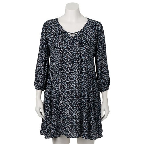 ef4ecaf549de0 Juniors  Plus Size Mudd® Lace-Up Peasant Dress