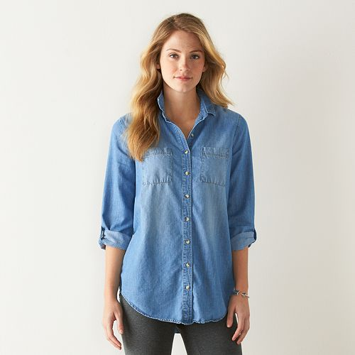 Women's SONOMA Goods for Life™ Button-Down Chambray Tunic