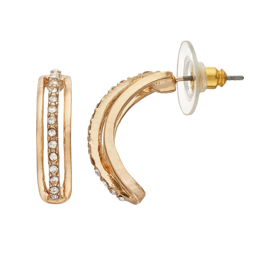 Simulated Crystal Nickel Free Curved Bar Drop Earrings