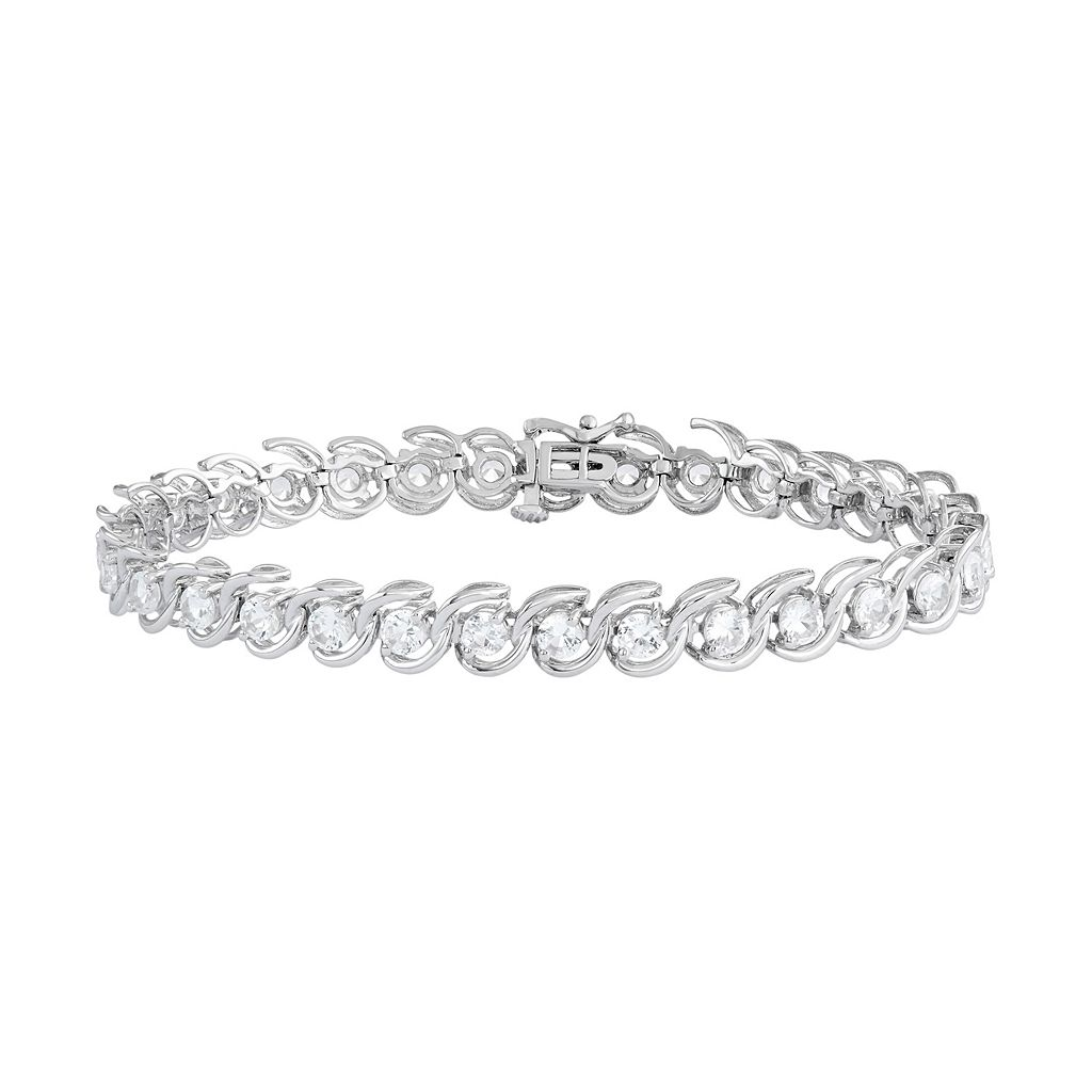 Sterling Silver Lab-Created White Sapphire Bypass Link Bracelet