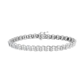 Sterling Silver 2-Row Lab-Created White Sapphire Bracelet