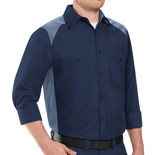 Big & Tall` Red Kap Classic-Fit Colorblock Button-Down Shirt