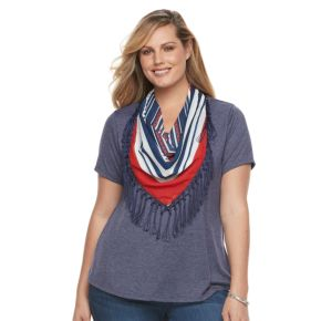 Plus Size World Unity Solid Tee & Printed Scarf