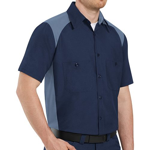 Big & Tall Red Kap Classic-Fit Motorsports Colorblock Button-Down Shirt