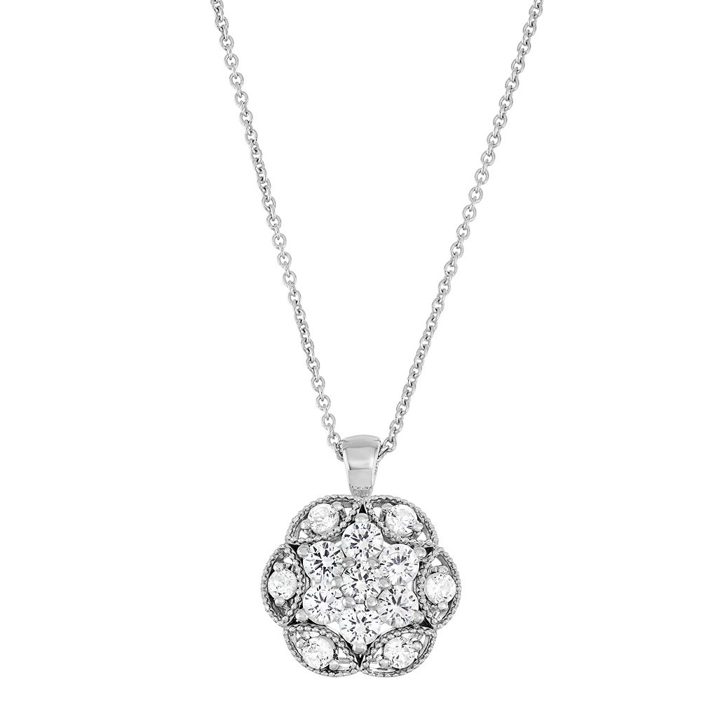 Sterling Silver Lab-Created White Sapphire Flower Pendant Necklace
