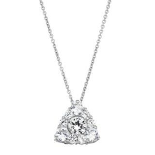 Sterling Silver Lab-Created White Sapphire Triangle Pendant Necklace