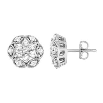 Sterling Silver Lab-Created White Sapphire Flower Stud Earrings