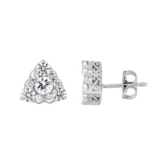 Sterling Silver Lab-Created White Sapphire Triangle Stud Earrings