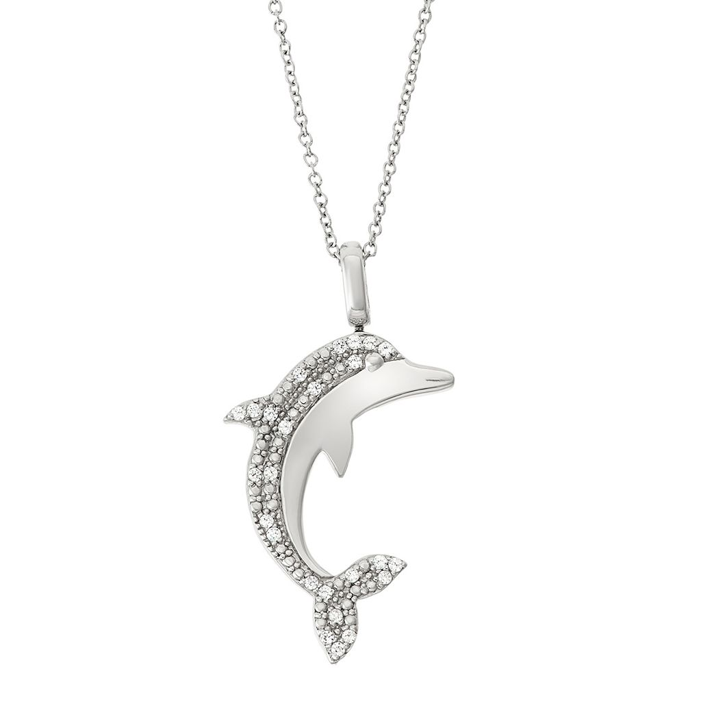 Sterling Silver 1/4 Carat T.W. Black & White Diamond Dolphin Pendant Necklace