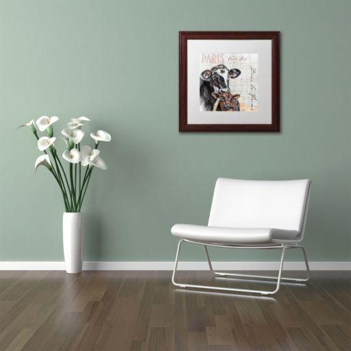 """Trademark Fine Art Dans """"la Ferme"""" Cow Wood Finish Framed Wall Art"""
