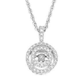 Dancing Love Sterling Silver Diamond Accent Halo Pendant Necklace