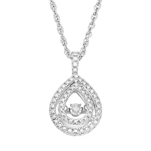 Dancing Love Sterling Silver Diamond Accent Teardrop Halo Pendant Necklace