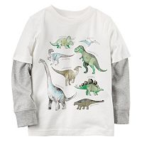 Baby Boy Carter's Mock-Layered Long Sleeve Dinosaur Graphic Tee