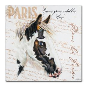 "Trademark Fine Art Dans ""la Ferme"" Horse Canvas Wall Art"