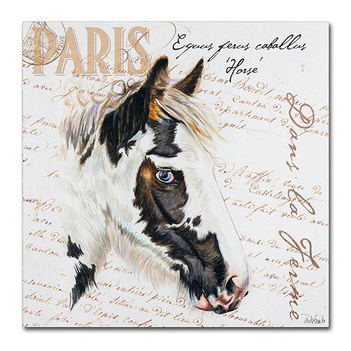 """Trademark Fine Art Dans """"la Ferme"""" Horse Canvas Wall Art"""