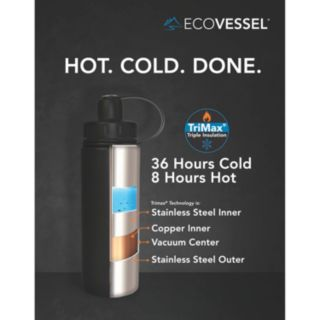 EcoVessel BOULDER TriMax Stainless Steel Water Bottle (20-Ounce)